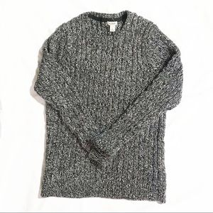 LL Bean Knit Sweater Gray Large Cotton Pull Over